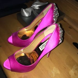 Stunning fuchsia kiara crystal back open toe pump.